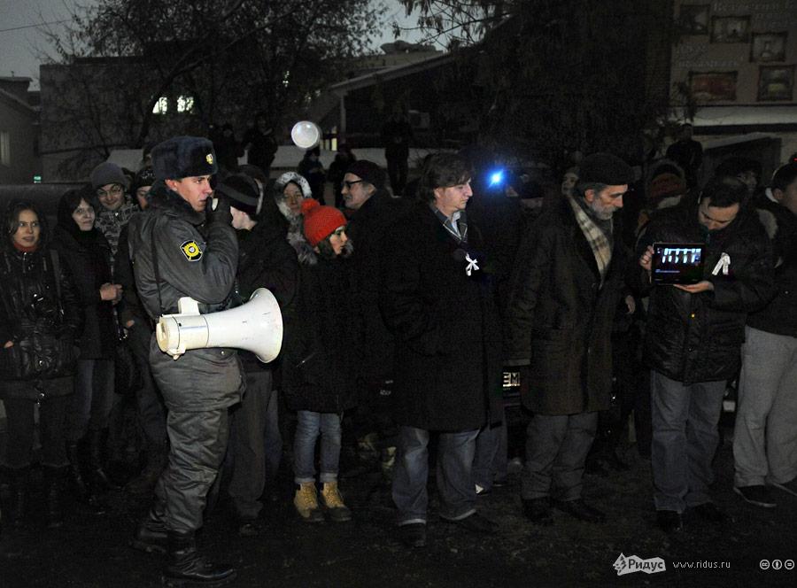 Пикет взащиту Сергея Удальцова уздания Тверского суда 26декабря 2011 года. © Василий Максимов/Ridus.ru
