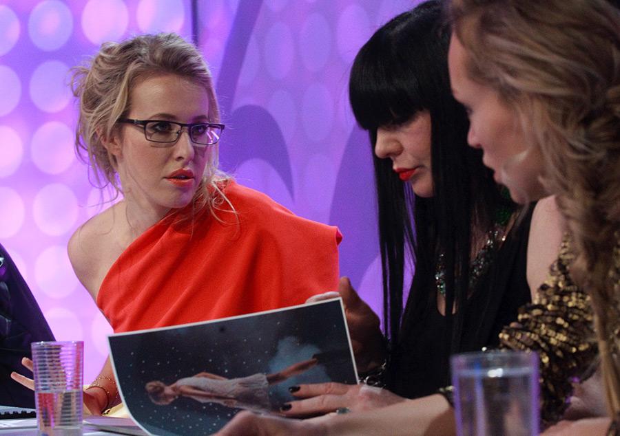 Ксения Собчак, Елена Супрун и Инна Зобова на съемках программы Топ
