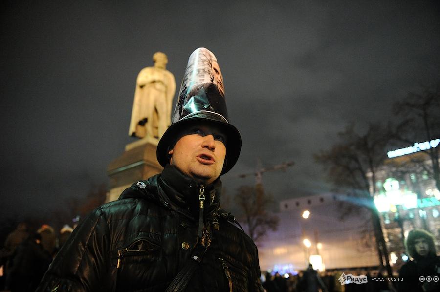 Участник акции взащиту Сергея Удальцова наПушкинской площади вМоскве 29декабря 2011 года. © Антон Белицкий/Ridus.ru