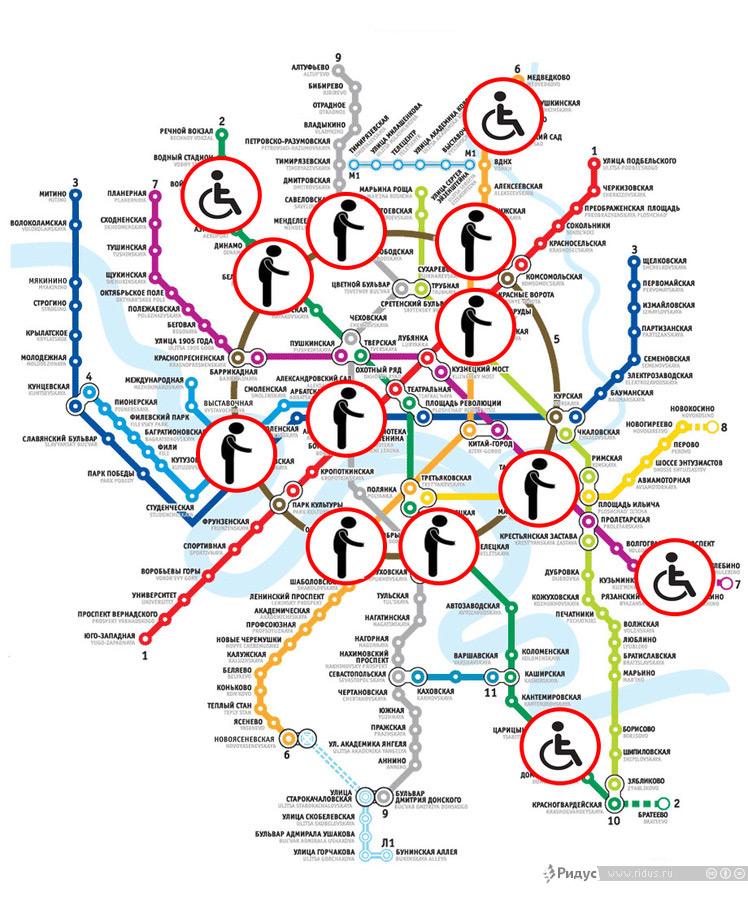 Схема мест работы попрошаек встоличном метрополитене. © Дмитрий Найдин/Ridus.ru