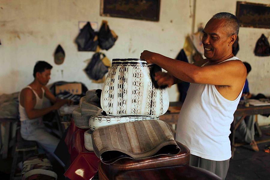 21. Сунарто, владелец фабрики по производству сумок, смотрит на головую сумку, сделанную из змеиной кожи на фабрике в...