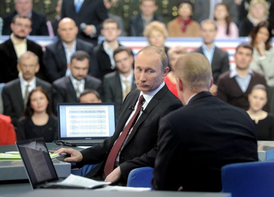 Владимир Путин отвечает навопросы впрограмме «Разговор сВладимиром Путиным». © Алексей Дружинин/РИА Новости