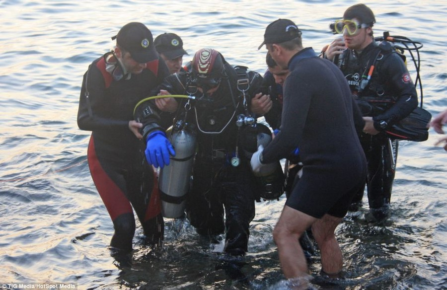 Helping hand: Sean was accompanied and assisted during his record attempt by the wider World Record Diving Malta team and the St. John's Rescue Corp