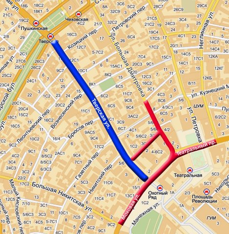 как пройти от красной площади до тверского бульвара части