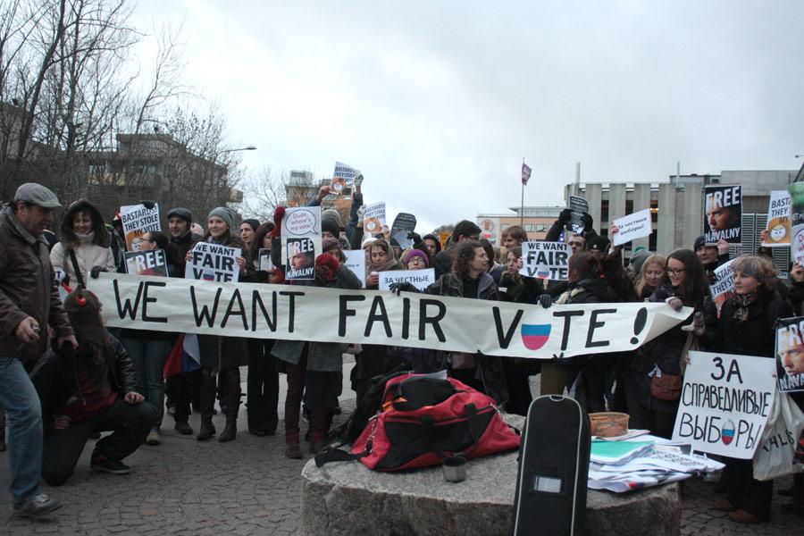 Акция протеста «Зачестные выборы» вСтокгольме. © Marco A.Suarez