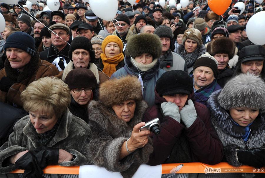 Митинг «Зачестные выборы» напроспекте Сахарова вМоскве 24декабря 2011 года. © Василий Максимов/Ridus.ru