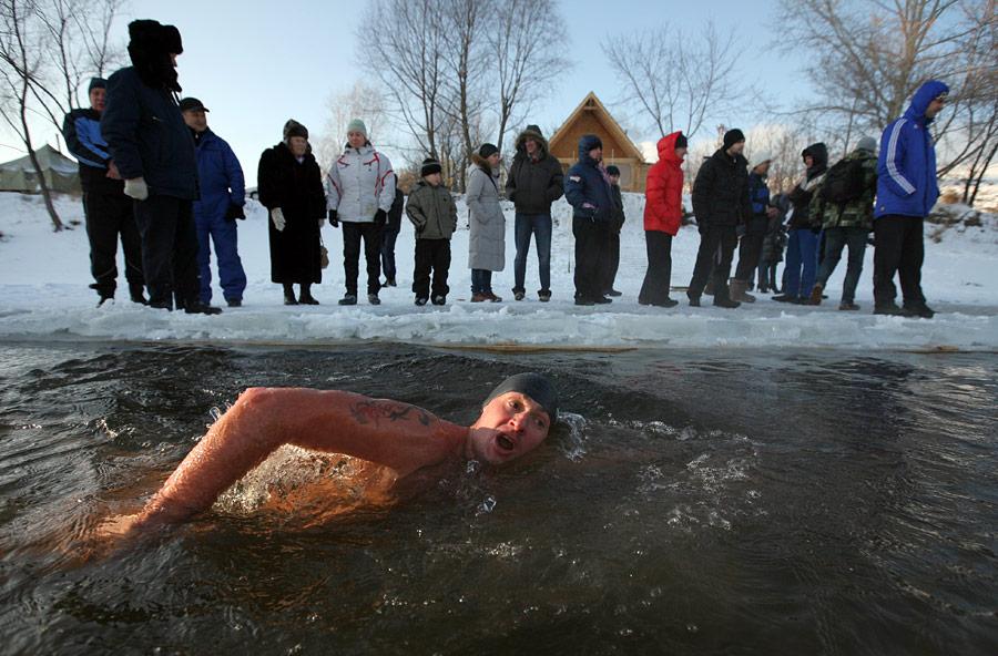 В Новосибирске проходит открытый чемпионат Сибирского федерального округа помарафонскому плаванию вледяной воде. © Александр Кряжев/РИА Новости