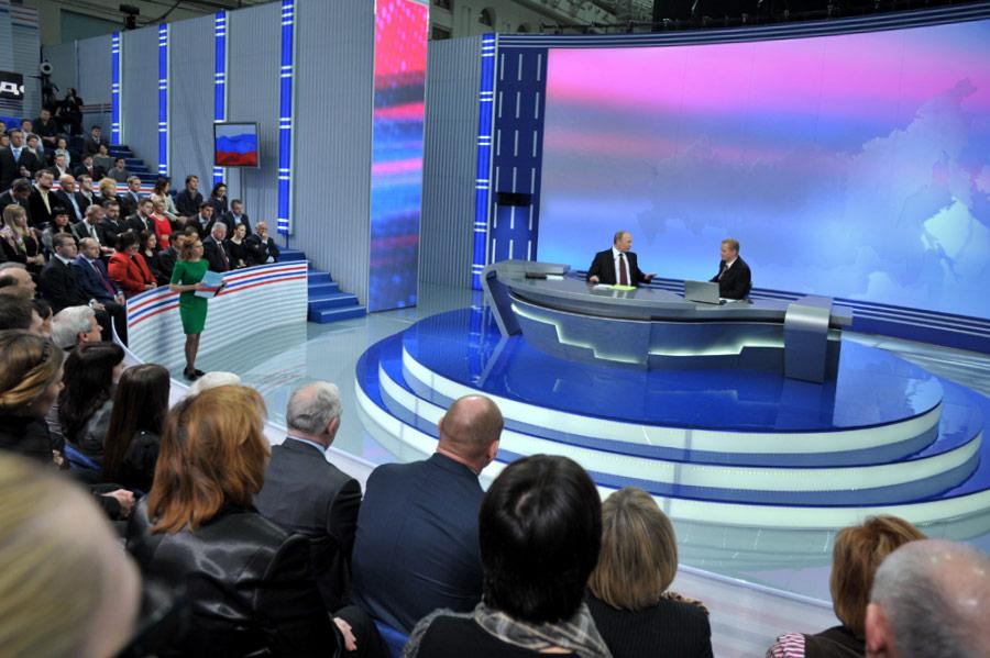 Владимир Путин отвечает навопросы впрограмме «Разговор сВладимиром Путиным». © Алексей Никольский/РИА Новости