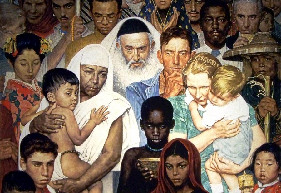 Фрагмент мозаичного панно «Золотое правило» американского художника Нормана Рокуэлла, считающееся одним изсимволом толерантности.