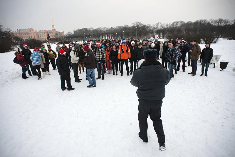 "Полиция пресекла проведение флэшмоба ""Снежная битва"" наМарсовом поле"