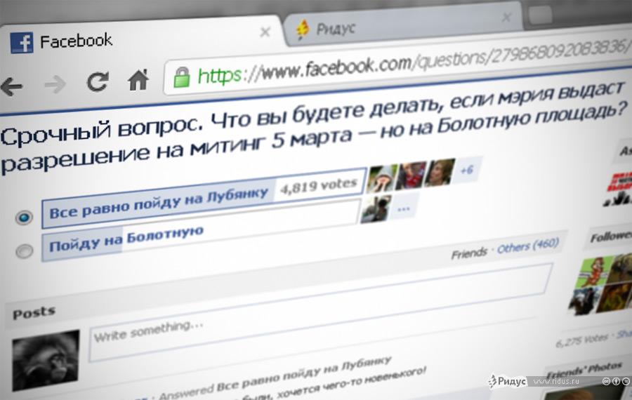 Опрос в Facebook об участии в несанкционированном митинге 5 марта на Лубянской площади. © Ridus.ru