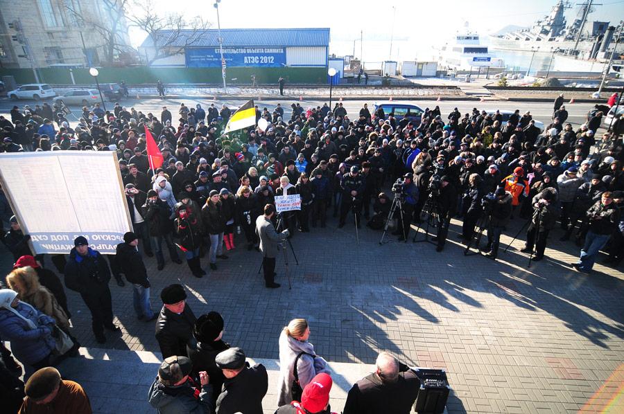Участники митинга  воВладивостоке против фальсификации напрошедших выборах вГосдуму РФ. © Юрий Смитюк/ИТАР-ТАСС