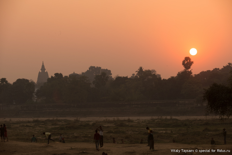 Sunset over Mahabodhi