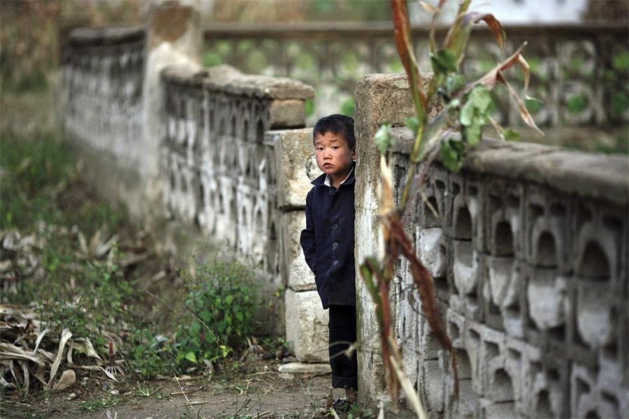 Мальчик выглядывает из-за ограды вколхозе Сокса-Ри, пострадавшему отнедавних наводнений. © Damir Sagolj/Reuters