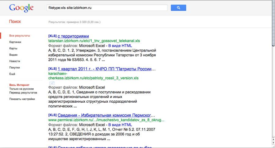 Секретные файлы избирательных комиссий впоисковой выдаче Google.