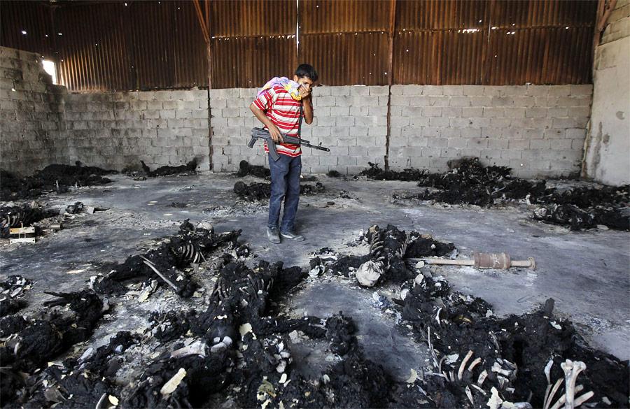 Повстанец смотрит наобугленные тела ввоенном лагере вТриполи. © Louafi Larbi/Reuters