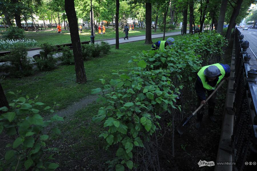 Уборка Чистопрудного бульвара.