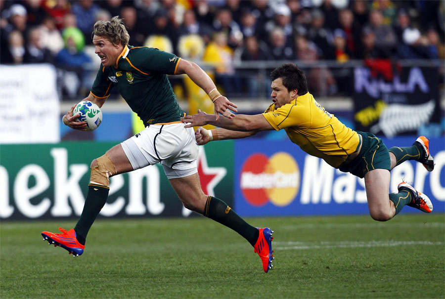 Матч Кубка мира порегби между командами Австралии иЮАР вНовой Зеландии. © David Gray/Reuters