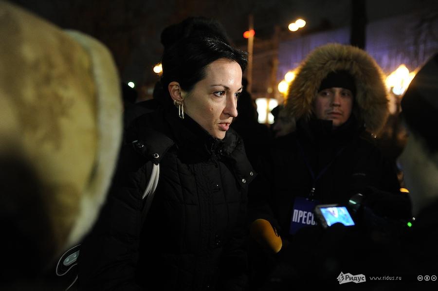 Анастасия Удальцова наакции взащиту мужа наПушкинской площади вМоскве 29декабря 2011 года. © Антон Белицкий/Ridus.ru