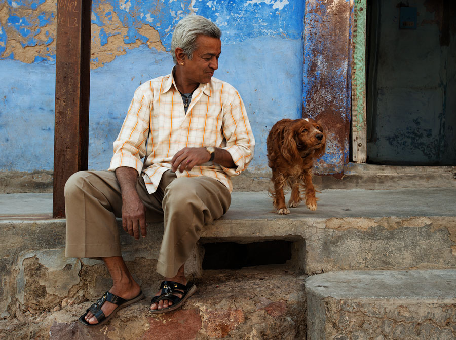 Man with his dog, Jodhpur, India